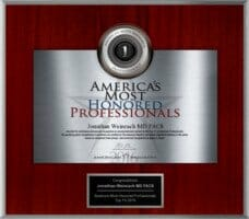 Dr. Weinrach's America's Most Honored Professionals award in 2016