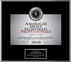 Dr. Weinrach's America's Most Honored Professionals award in 2018