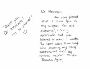 Thank you note from satisfied patient